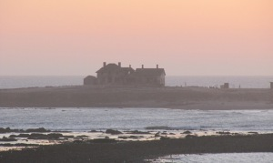 picture of abandoned lighthouse station and keeper's residence on Año Nuevo Island