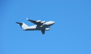 picture of Air Force plane after takeoff from Moffett Field