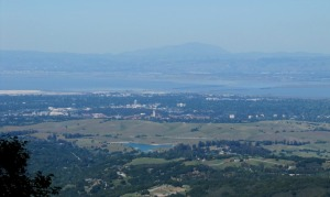 photo of San Francisco Bay, with the Stanford University campus in front and Mt Diablo behind