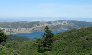 picture of East Bay hills across San Francisco Bay and Crystal Springs Reservoir