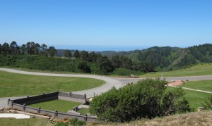 photo of Half Moon Bay and the Pacific Ocean across Skylawn Memorial Park