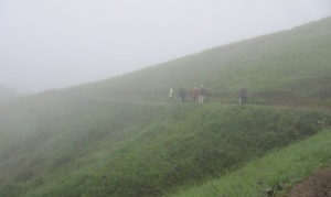 image of trail and hikers heading into the mist
