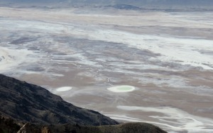 photo of Death Valley's valley floor with a pool